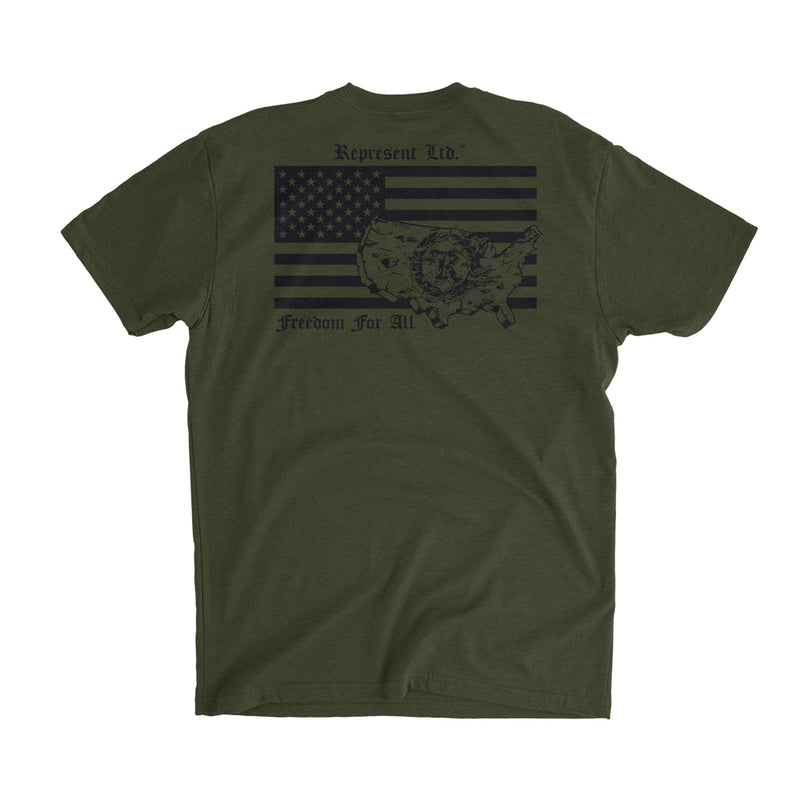 Freedom For All Flag Tee [MILITARY GREEN] COLLECTOR'S EDITION