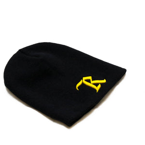 Classic Embroidered Beanie [BLACK N YELLOW]