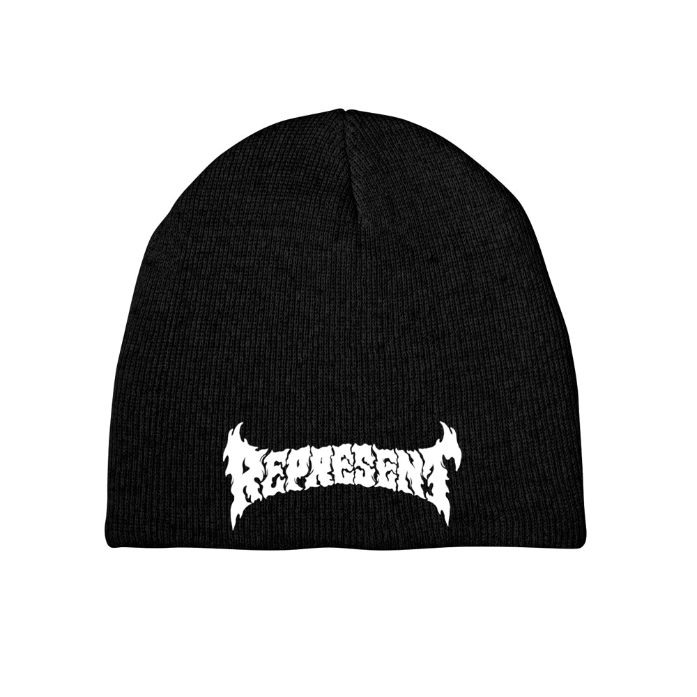 Psyched Script Embroidered Beanie [BLACK]