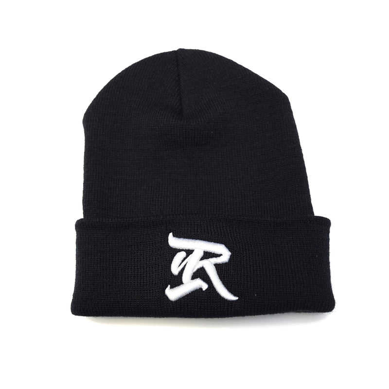 Abrakadabra 3D Embroidered Cuff Beanie [BLACK X WHITE]