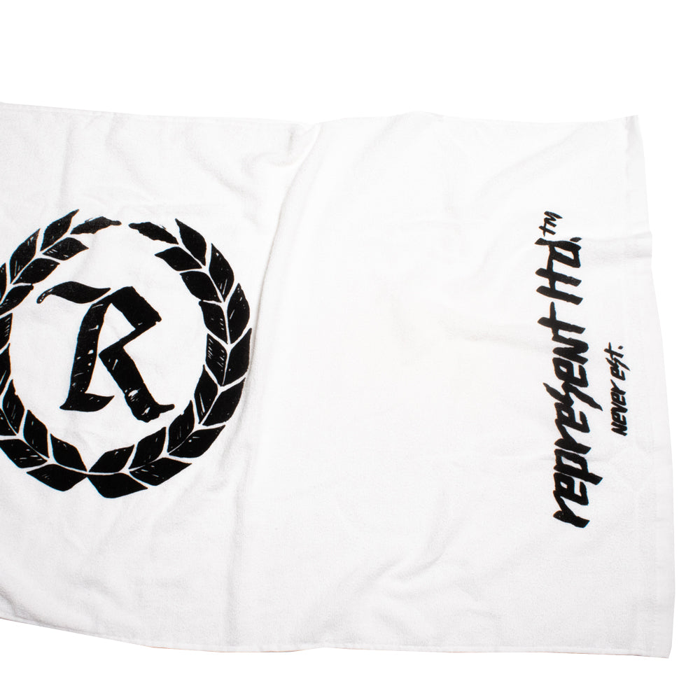 Never Established Monogram Beach Towel [WHITE]