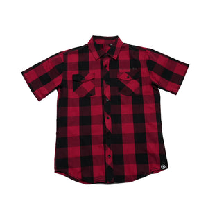 Original Classic Short Sleeve Plaid Button-up Shirt [RED X BLACK] LIMITED BATCH