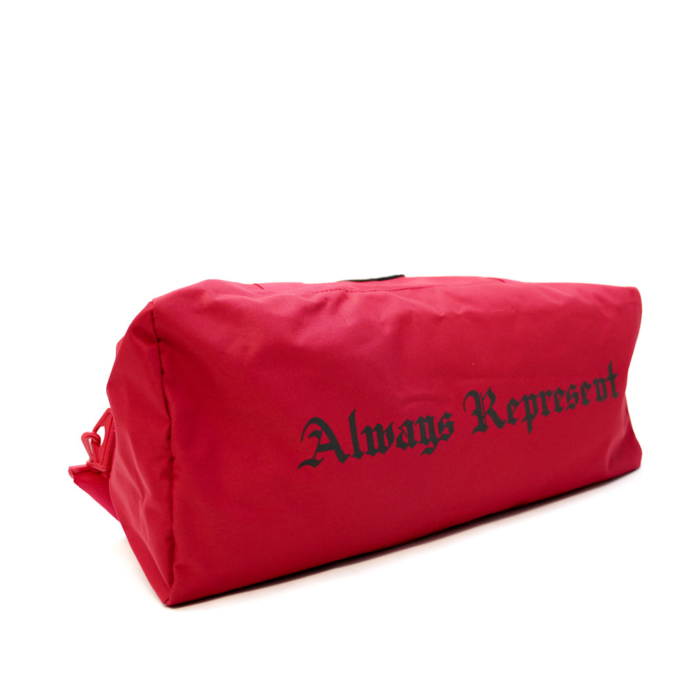 Always Represent PVC Silicone Rubber Patch Duffel Bag [RED X BLACK]