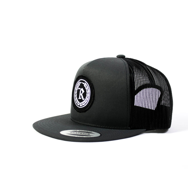 Never Established Patch Trucker Hat [BLACK X CHARCOAL GRAY]