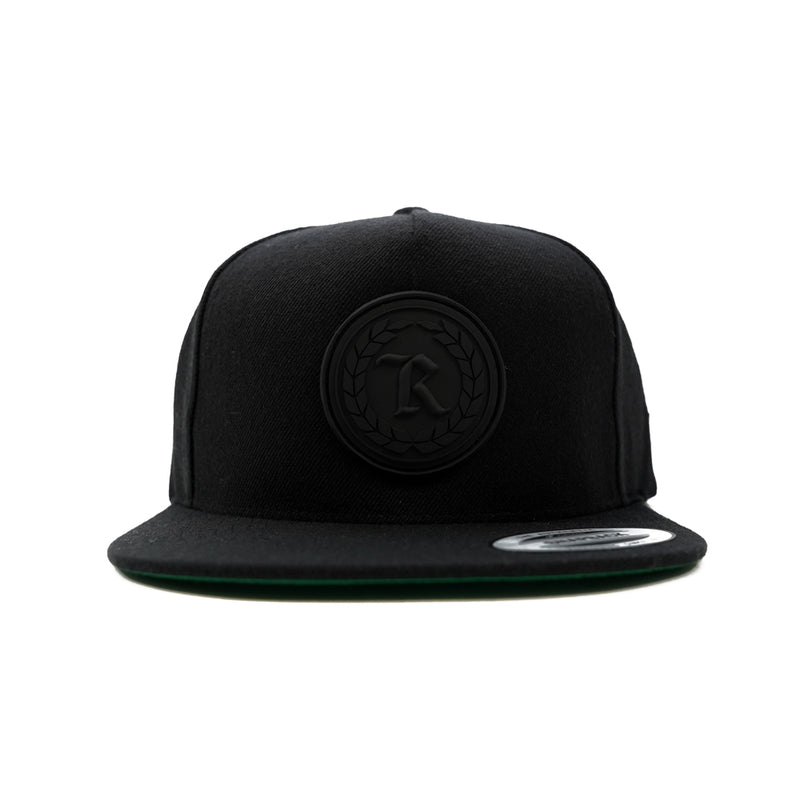 PVC Rubber Silicone Patch Embroidered Classic Snapback [BLACK X BLACK]