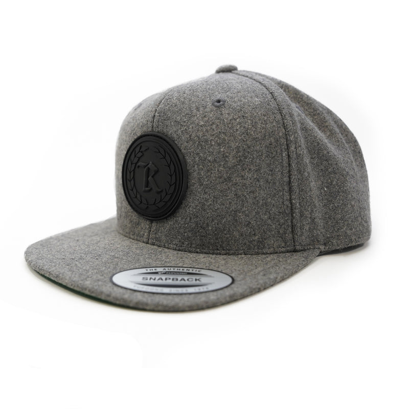 PVC Rubber Silicone Patch Embroidered Classic Snapback [HEATHER X BLACK]