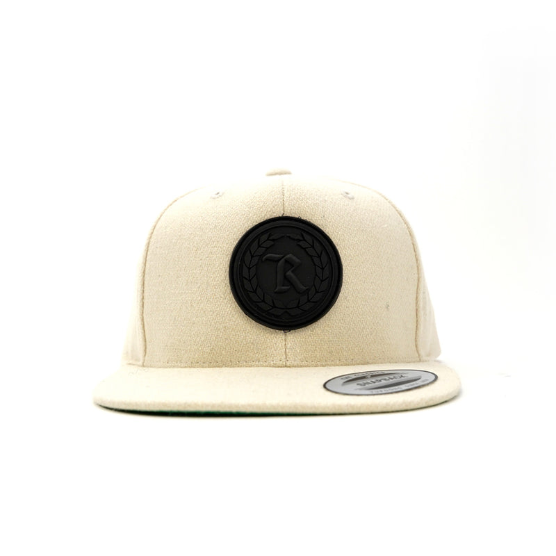 PVC Rubber Silicone Patch Embroidered Classic Snapback [NATURAL X BLACK]