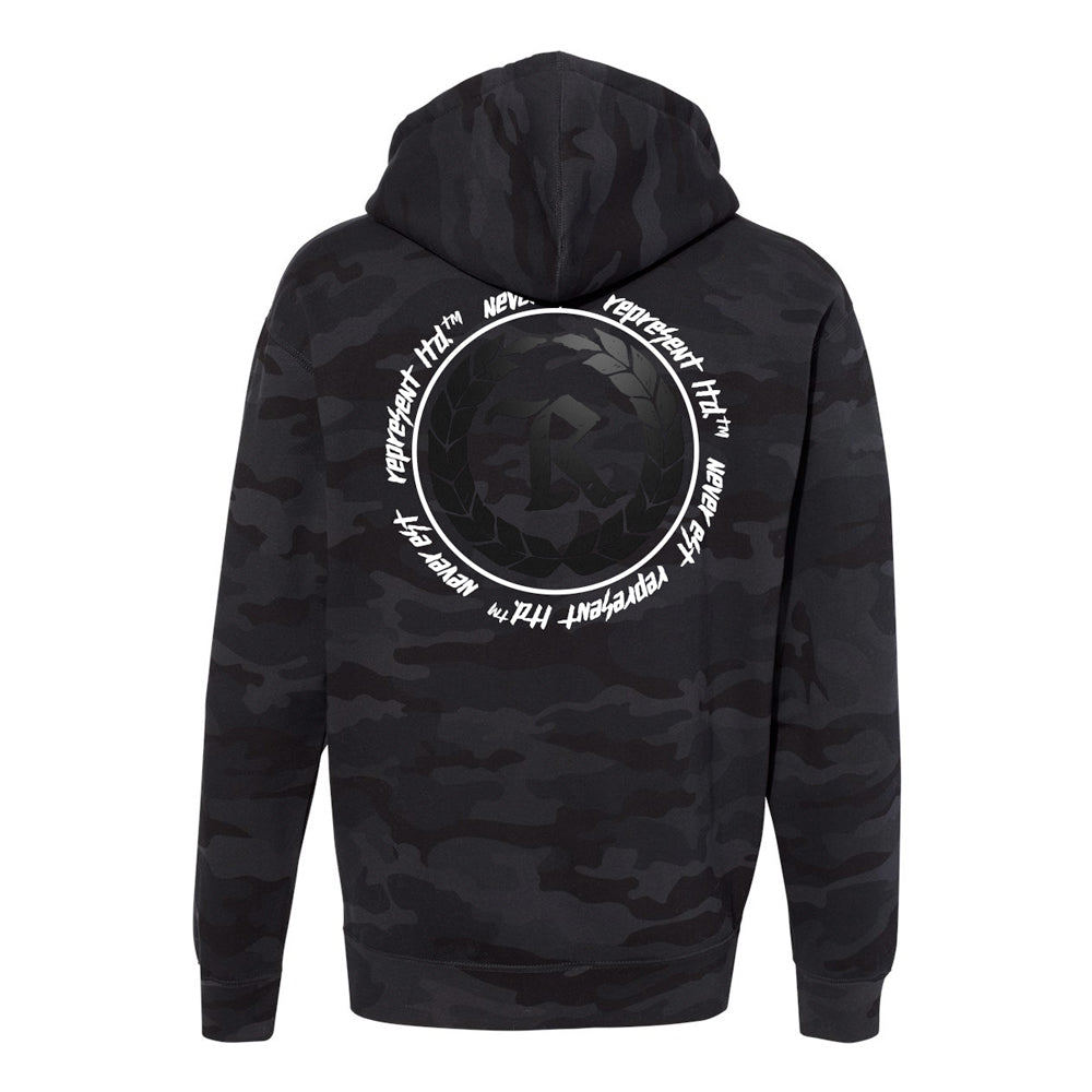 Never Established Patch Pullover Hoodie [BLACK CAMO]