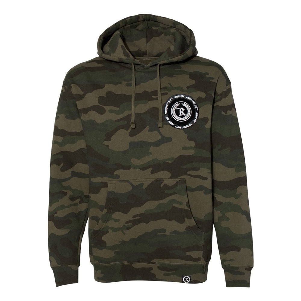 Never Established Patch Pullover Hoodie [FOREST CAMO]