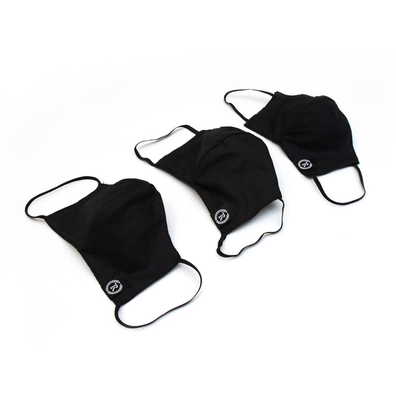 Woven Label Cloth Sanitary Mask 3-PACK [BLACK]