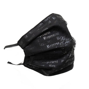 Original Classic All Over Print Full Front Cloth Sanitary Mask [BLACK ON BLACK]