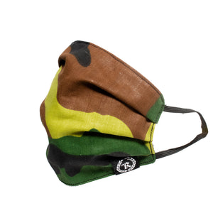CAMO Woven Label Full Front Cloth Sanitary Mask [FOREST CAMO X BLACK]