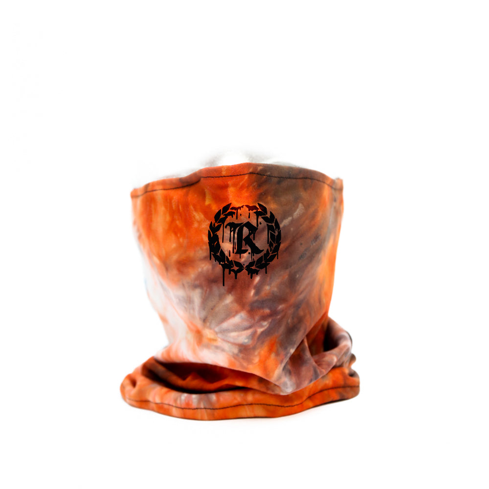 Drip Orange Tie Dye Gaiter Neck Covering & Face Mask [ORANGE X BLACK]