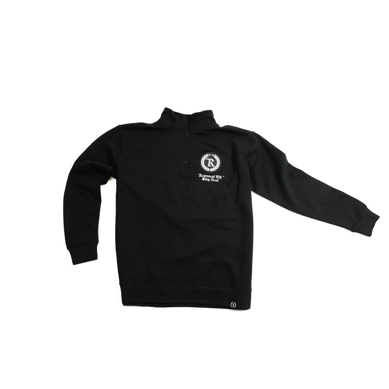 Stay Real Silicone Patch Qtr Zip Fleece w/ HD Imprint [BLACK X WHITE] LIMITED EDITION