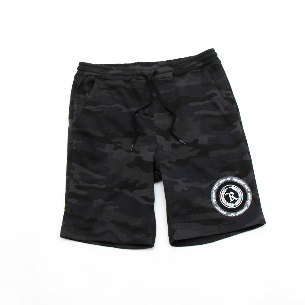 Never Established Patch Shorts [BLACK CAMO]