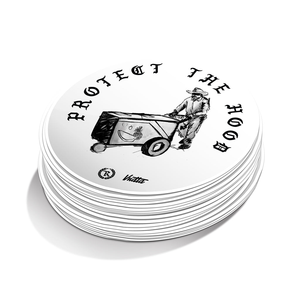 Protect The Hood VNDTA Collab 4X4 Circle Weatherproof Bumper Sticker [WHITE] LIMITED EDITION