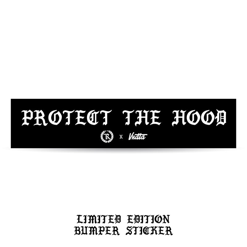 Protect The Hood VNDTA Collab 8X2 Circle Weatherproof Bumper Sticker [BLACK] LIMITED EDITION