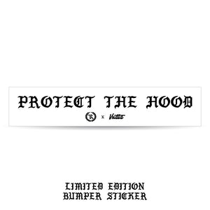 Protect The Hood VNDTA Collab 8X2 Circle Weatherproof Bumper Sticker [WHITE] LIMITED EDITION