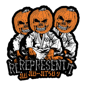 "Pumpkin Head Jiu Jitsu Weatherproof Bumper Sticker 6"" x 4"" Die-Cut [BLACK] LIMITED EDITION"