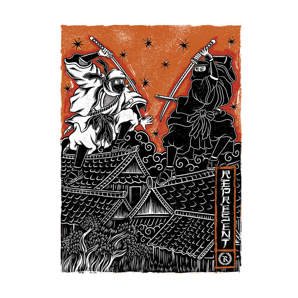 "Way of the Ninja Showdown Weatherproof Bumper Sticker 5"" x 7"" Kiss Cut [BLACK] LIMITED EDITION"