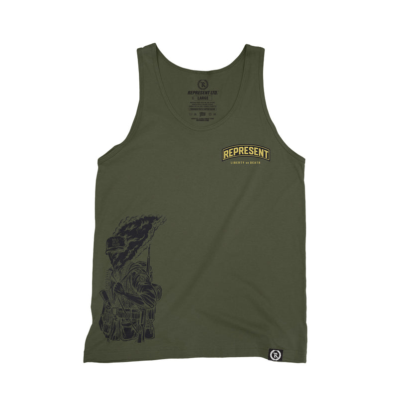 Frontline Soldiers Liberty or Death Tank Top [MILITARY GREEN]