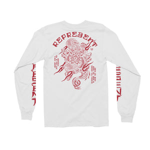 Martial Arts War of Art X Art of War Dragon Long Sleeve Tee [WHITE]