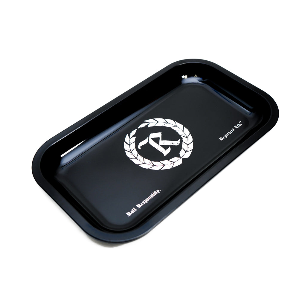 "Roll Responsibly Rolling Tray 10.5"" X 6.5"" METAL TIN [BLACK / GOLD BOTTOM] COLLECTOR'S EDITION"