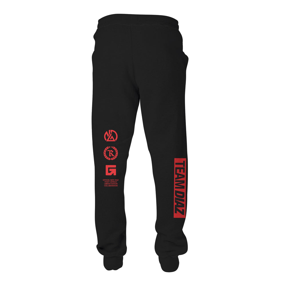 Nate Diaz Team Diaz 263 PVC Silicone Patch Joggers [BLACK] OFFICIAL UFC 263 EDITION