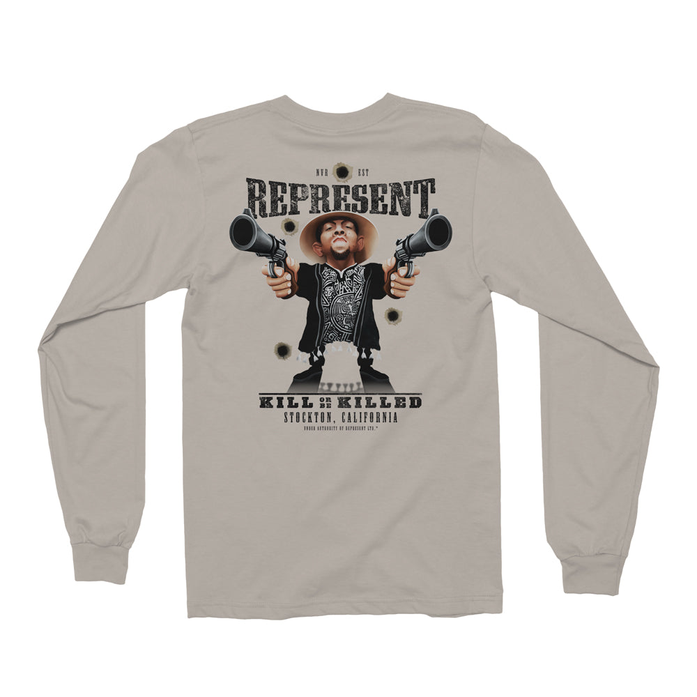 Nate Diaz 'Most Wanted' Wild West Long Sleeve Tee [REPRESENT X DOSBRAK]