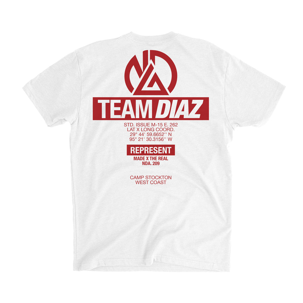 TEAM DIAZ Camp Stockton Training Gear Tee [WHITE X RED] NATE DIAZ UFC 262 CAMP EDITION
