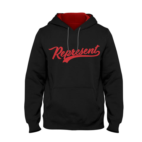 The Baseball Script Pullover Hoodie [Black/Red]