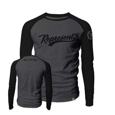 Baseball Script Raglan Long Sleeve [DEEP GRAY/BLK]