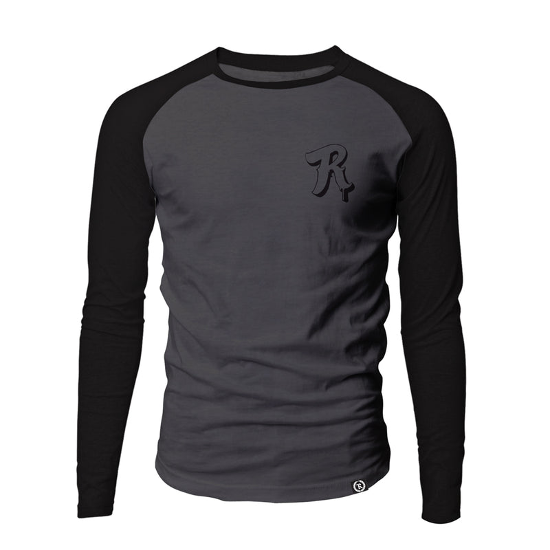 Baseball Beast Drip Script Raglan Long Sleeve [GRAY X BLACK]