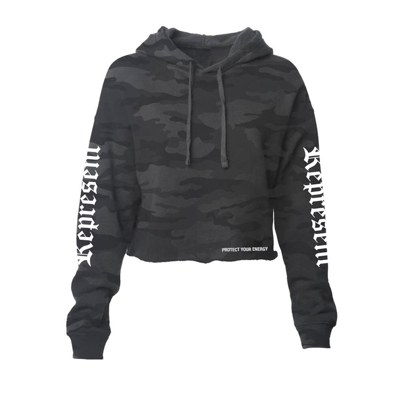 Protect Women's Crop Hoodie [BLACK CAMO]