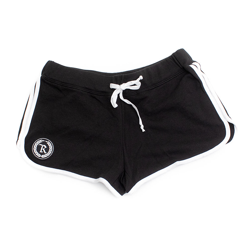 Women's Patch Relay Shorts [BLACK W/ WHITE TRIM]