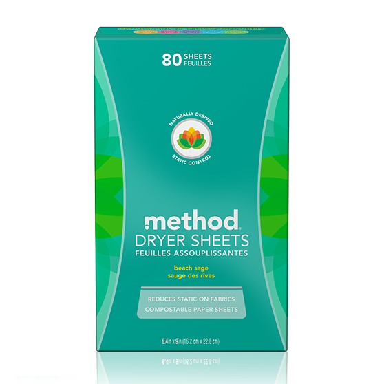 Method Dryer Sheets Beach  Sage - 80 Sheets