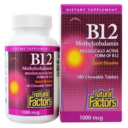 Natural Factors  B12 Methylcobalamine  1000 mcg 180 tablets