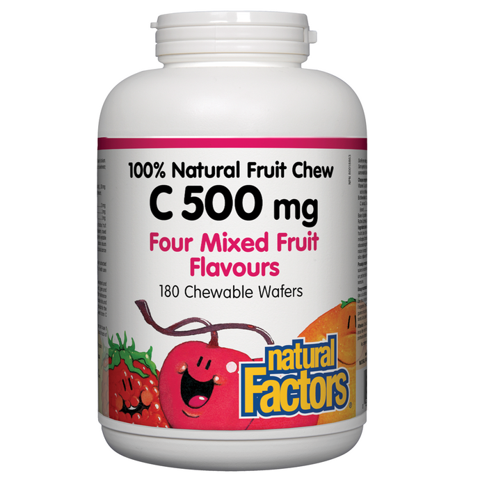 Natural Factors C 500 mg 100% Natural Fruit Chew four mixed fruit flavour - 180 chewable wafers