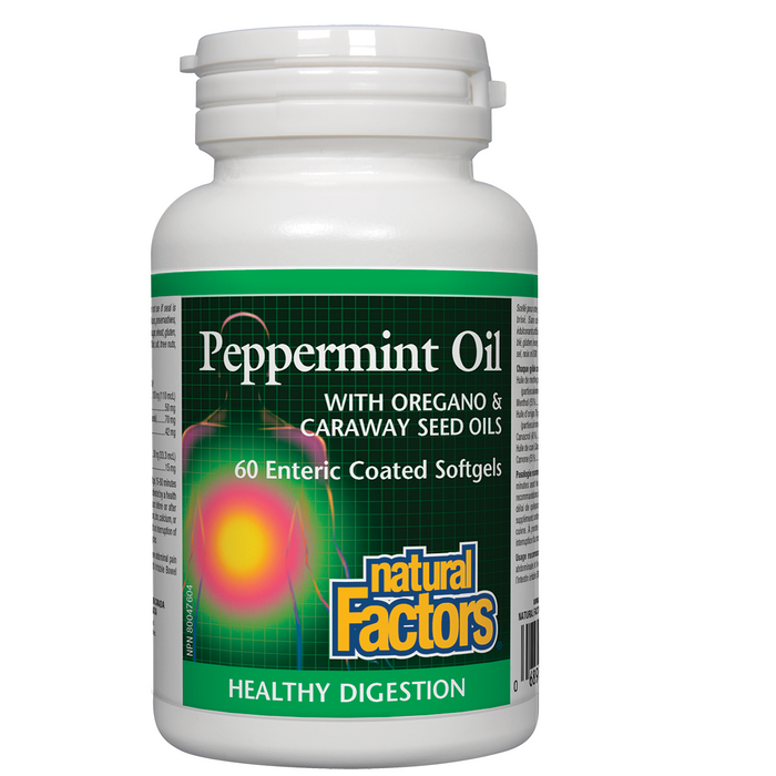 Natural Factors Peppermint Oil with Oregano & Caraway Seed Oils 60 enteric coated softgel