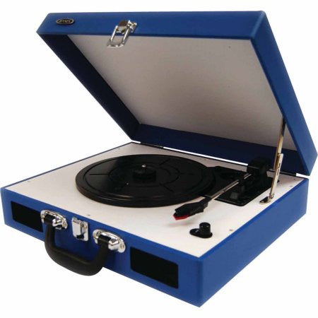 Jensen | JTA-410-BL Portable 3-Speed Turntable (Blue)