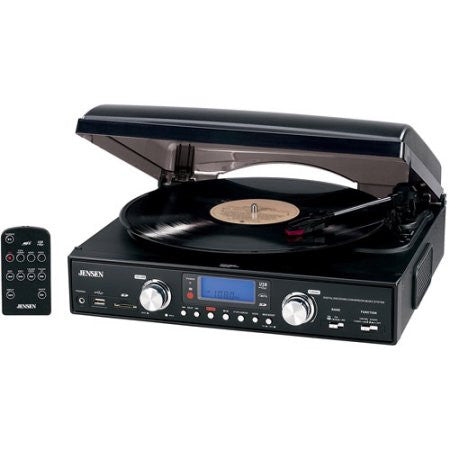 Jensen | JTA-460 3-Speed Turntable with MP3 Encoding System (with USB, AM/FM Radio)
