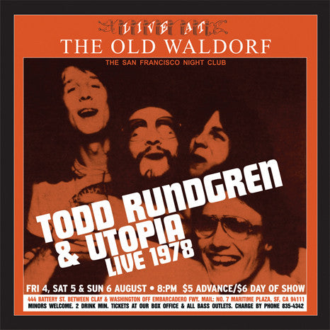 Todd Rundgren & Utopia | Live at the Old Waldorf | Limited Edition Gold Vinyl 2LP