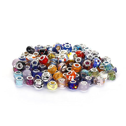 BRCbeads Top Quality 100Pcs Mix Silver Plate STYLE6 Murano Lampwork European Glass Crystal Charms Beads Spacers Fit Pandora Troll Chamilia Carlo Biagi Zable Snake Chain Charm Bracelets.