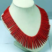 Jewelry Fashion Red Howlite Turquoise Stone Loose Spike Beads Necklace Choker Collar