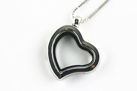 BRCBeads Silver Plated 28mm Irregular Heart Shape Glass Crystal Memory Living Floating Charms Locket Necklace + FREE 24 Inch Box Chain 1pcs per Bag Best DIY Jewelry Accessories