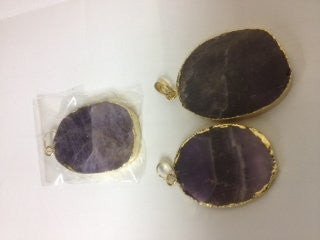 Amethyst Pendant With Gold Bezel One Hook Oval Shape Approx 1.5-2'' Set Of 3 Mixed Shape