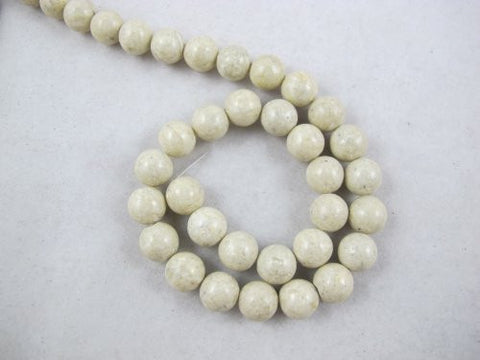 Fossil Beads Nature Fossil White Color Round 10mm 41pcs 16''per Strand