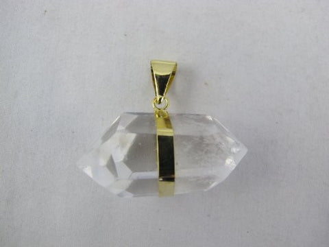 Quartz Pendant Natural Crystal Quartz with Gold Bezel One Hook Mixed Shape
