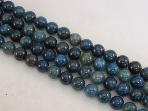 Kyanite Nature Gemstone Dark Blue 10mm Round 40pcs 15.5""