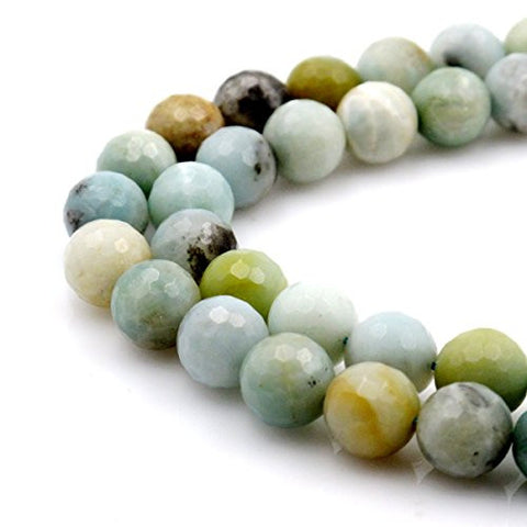 BRCbeads Gorgeous Natural Faceted Amazonite Gemstone Round Loose Beads 12mm Approxi 15.5 inch 30pcs 1 Strand per Bag for Jewelry Making